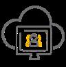 ikona kontakt człowiek persona w ekranie i chmurze