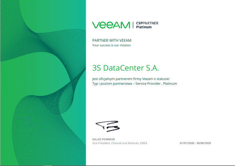 3S Data Center Piereszym w Polsce partnerem veeam