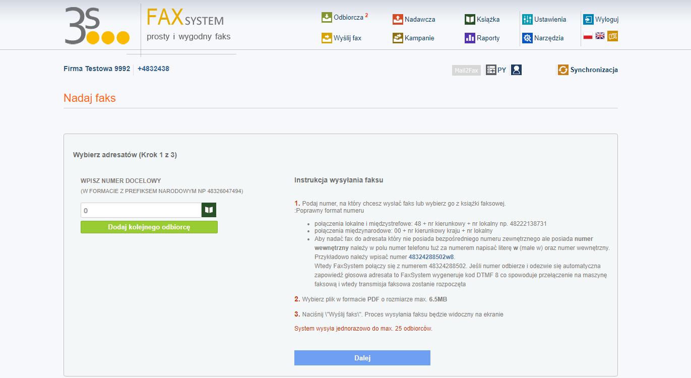 Fax System nadaj fax