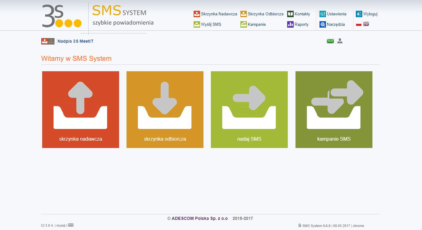 SMS system ekran główny