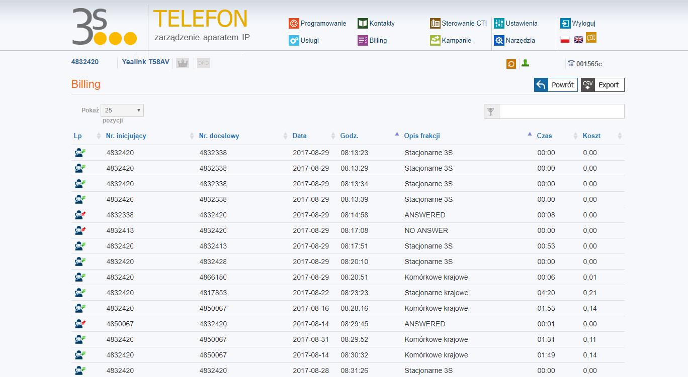 Telecloud telefon billing