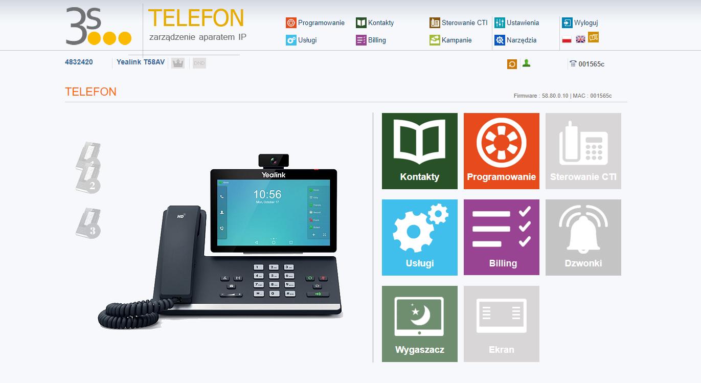 Telecloud usługa telefon ekran główny