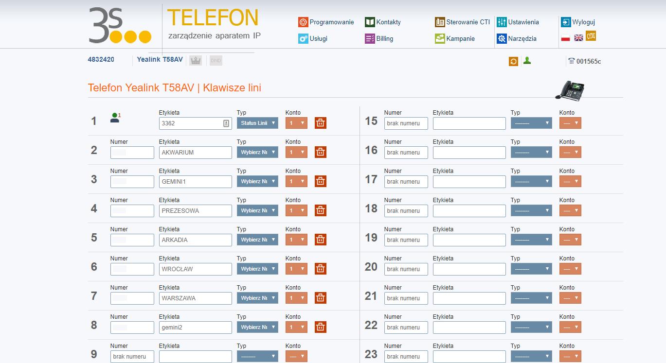 Telecloud usługa telefon programowanie
