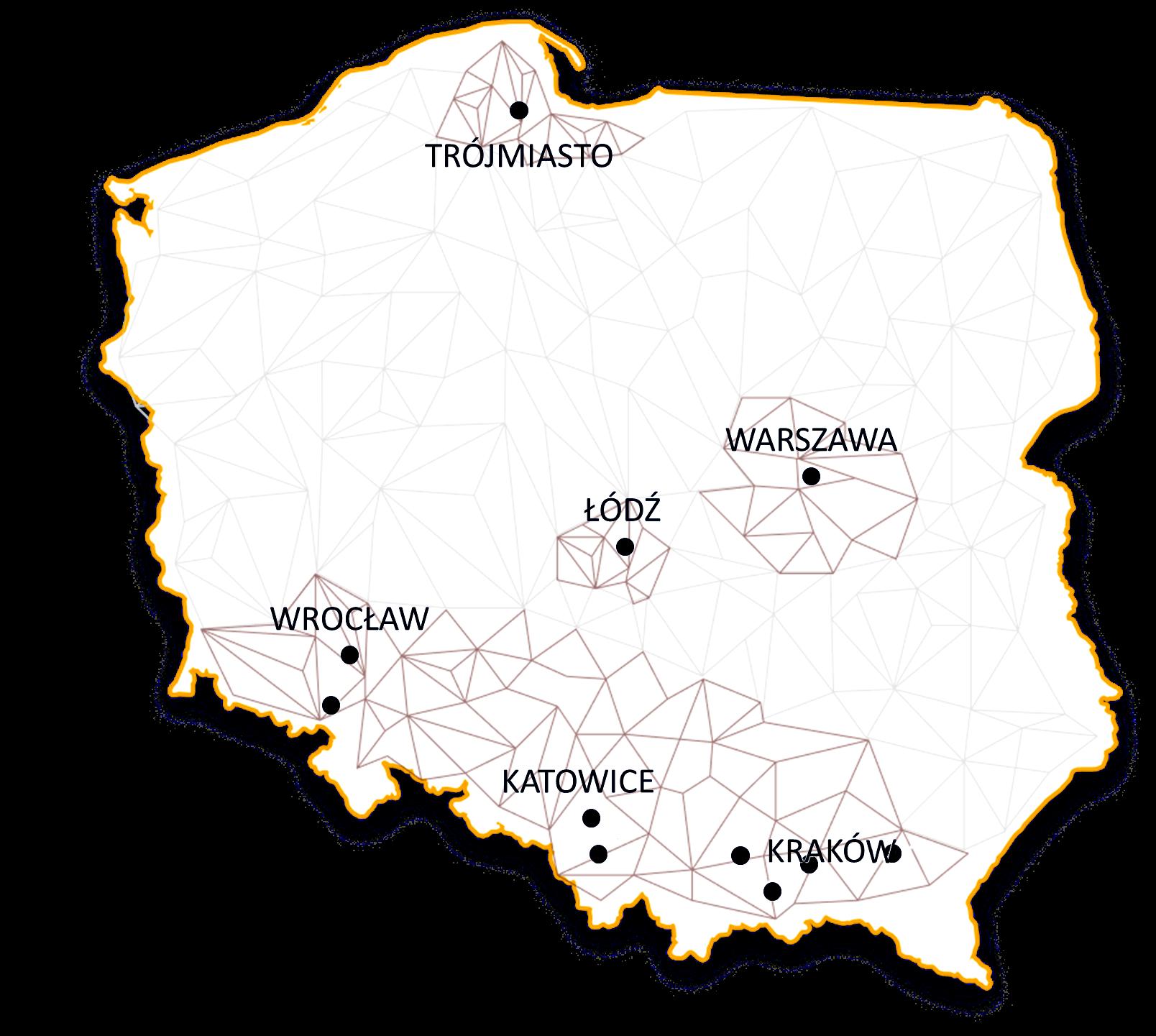 Mapa zasięgu sieci 3S z miastami