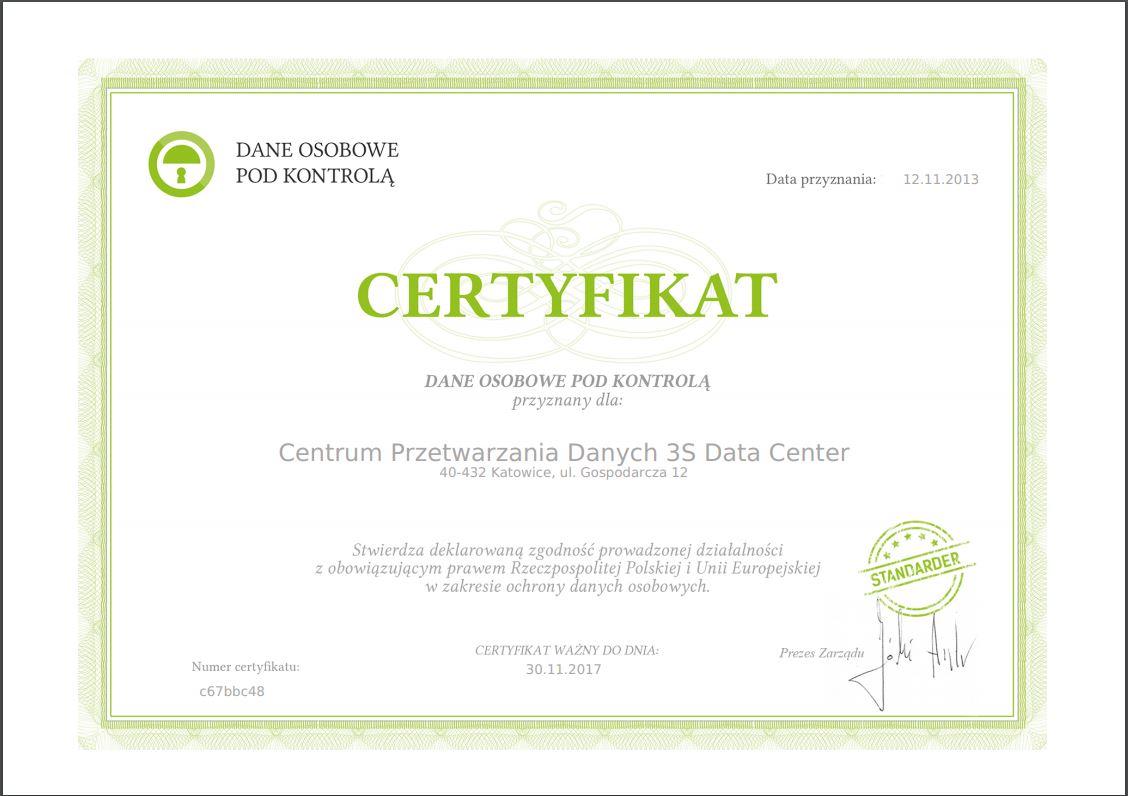 certyfikat dane osobowe pod kontrola 3S Data Center