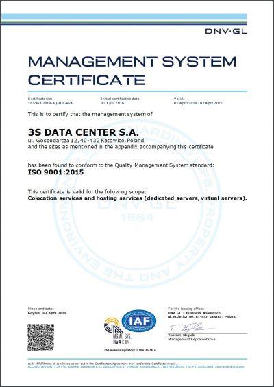 certyfikat management system certificate iso 9001 2015 DC eng