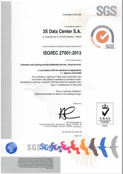 ISO 27001 2013 dla 3S Data Center