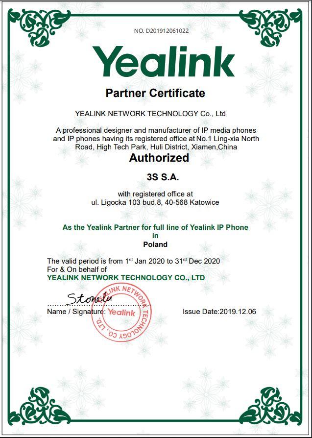 Yealink Partner Certificate
