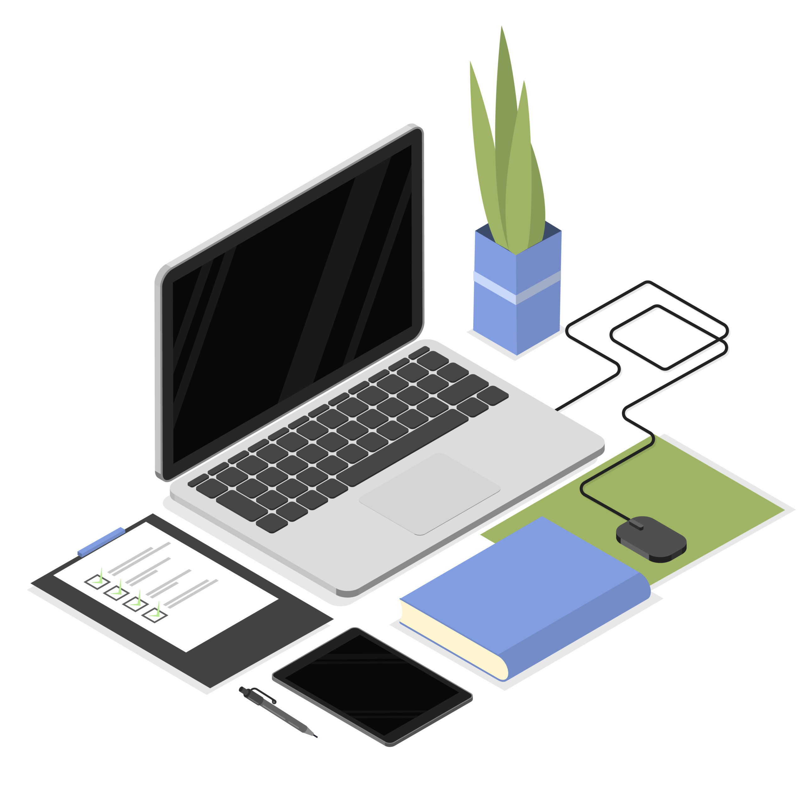 Isometric office workplace