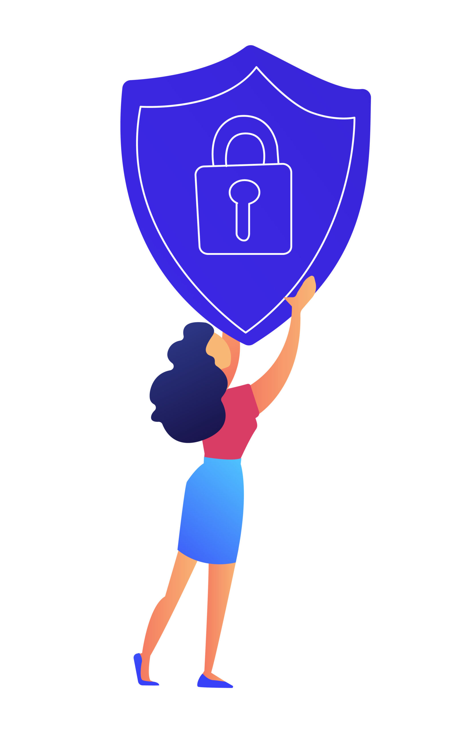 Female IT specialist holds protection shield with lock vector illustration.