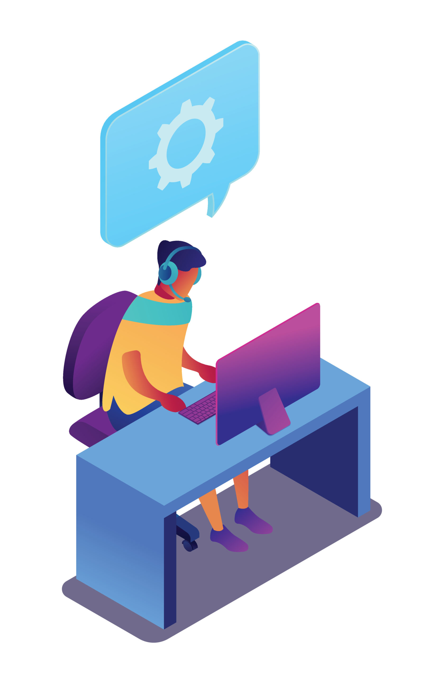Technical support operator working on computer, tiny people isometric 3D illustration