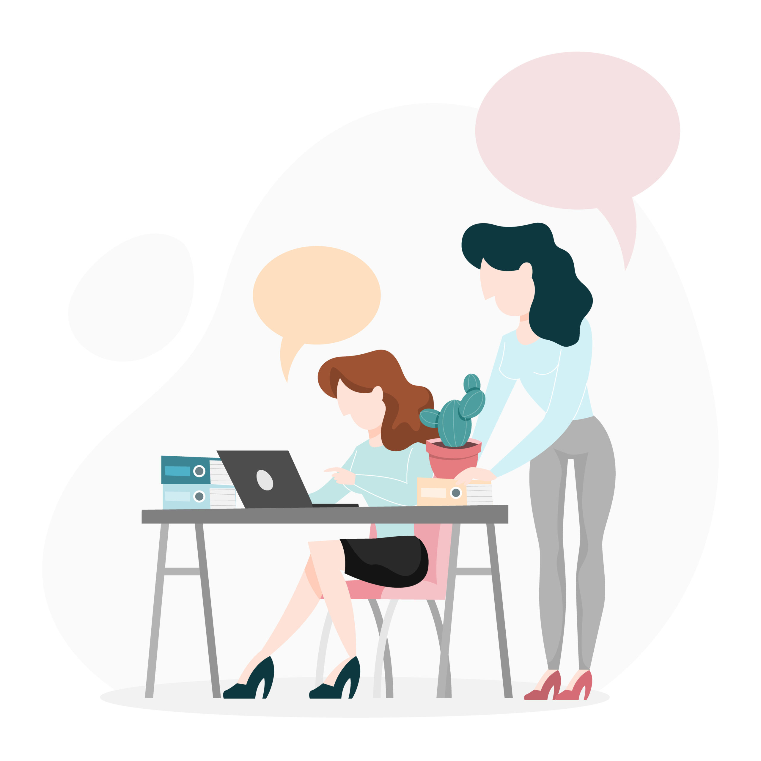 Two person talking on the office. Woman sitting