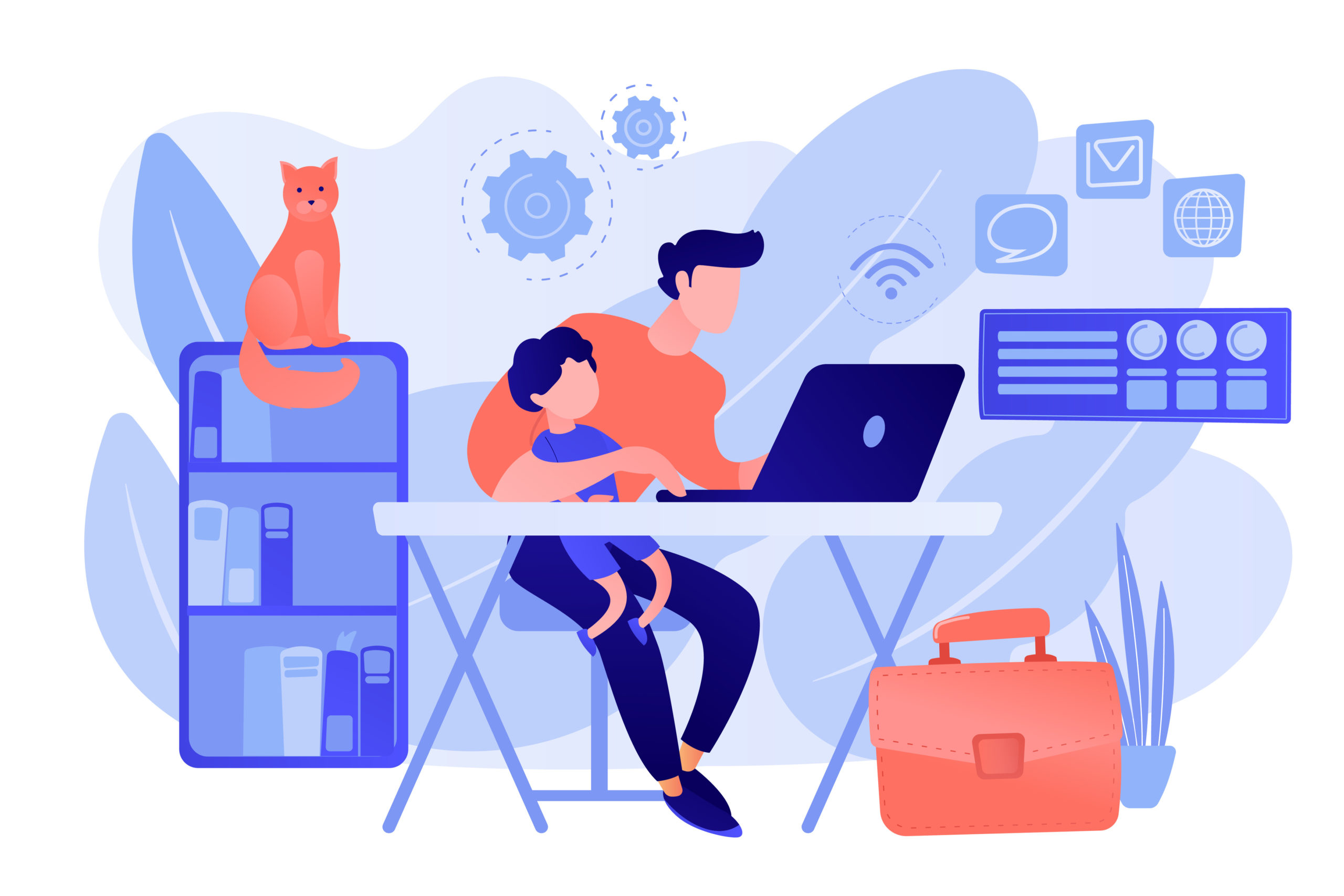 Remote worker concept vector illustration home office