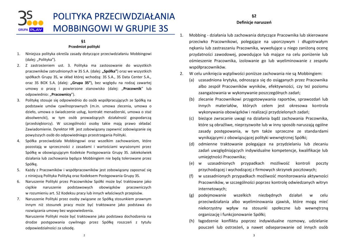 Polityka Przeciwdziałania Mobbingowi Grupy 3S1