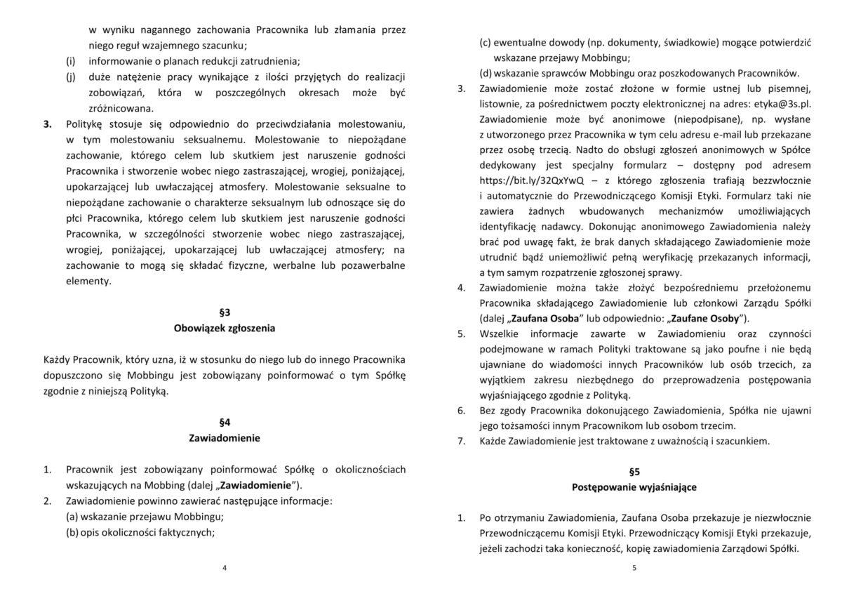Polityka Przeciwdziałania Mobbingowi Grupy 3S2