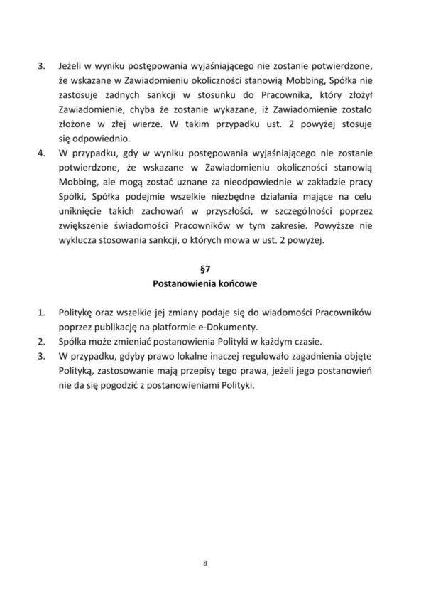 Polityka Przeciwdziałania Mobbingowi Grupy 3S4