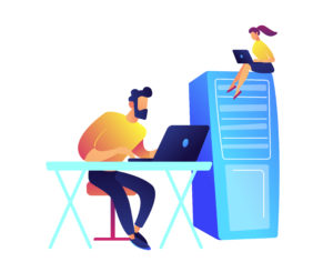 Programmers working with laptops and server rack vector illustration.