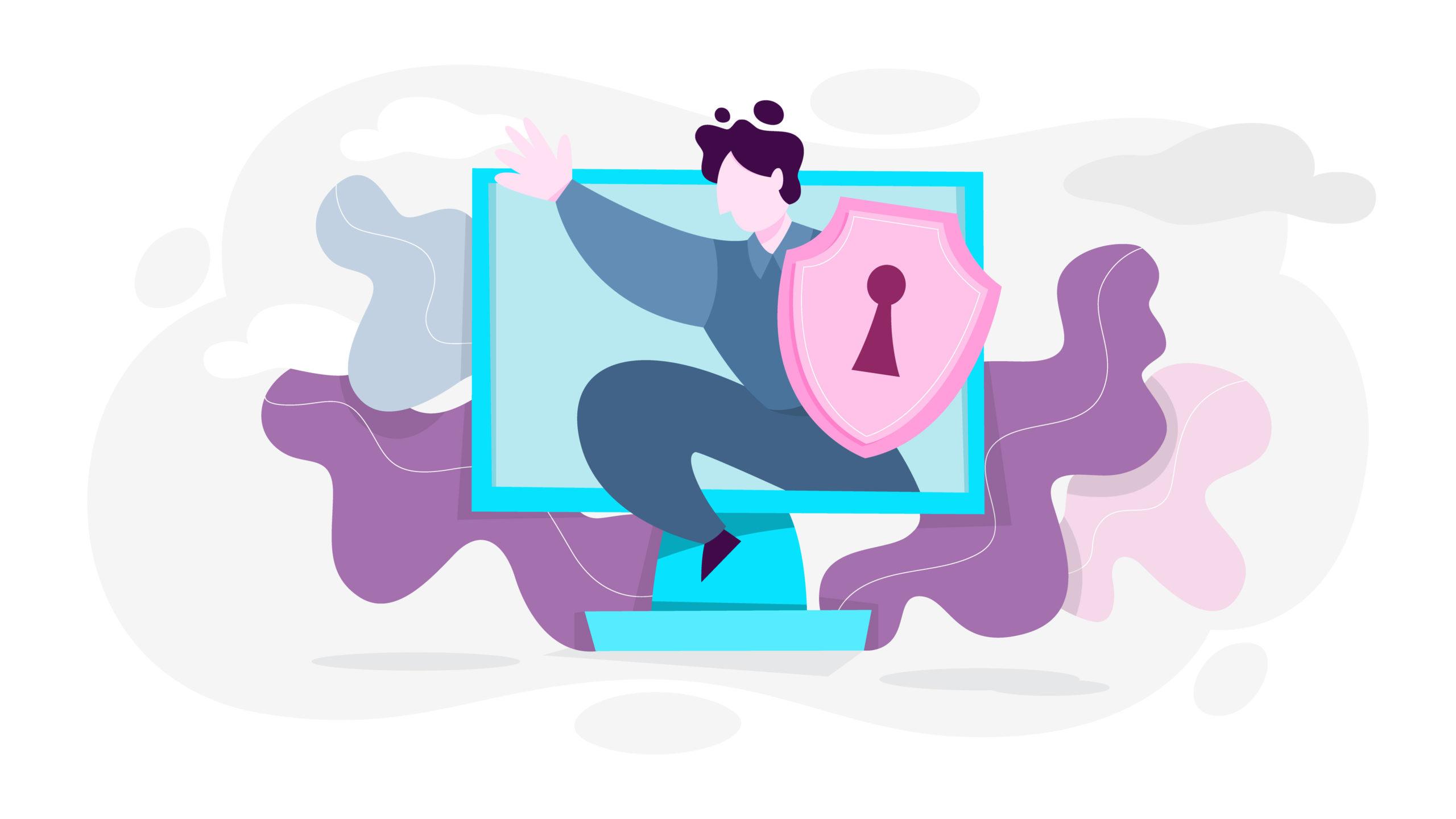 człowiek monitor ekran ochrona zabezpieczenie