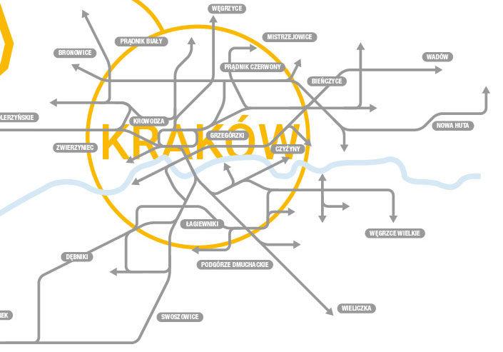 Kraków mapa sieci wycinek Polski