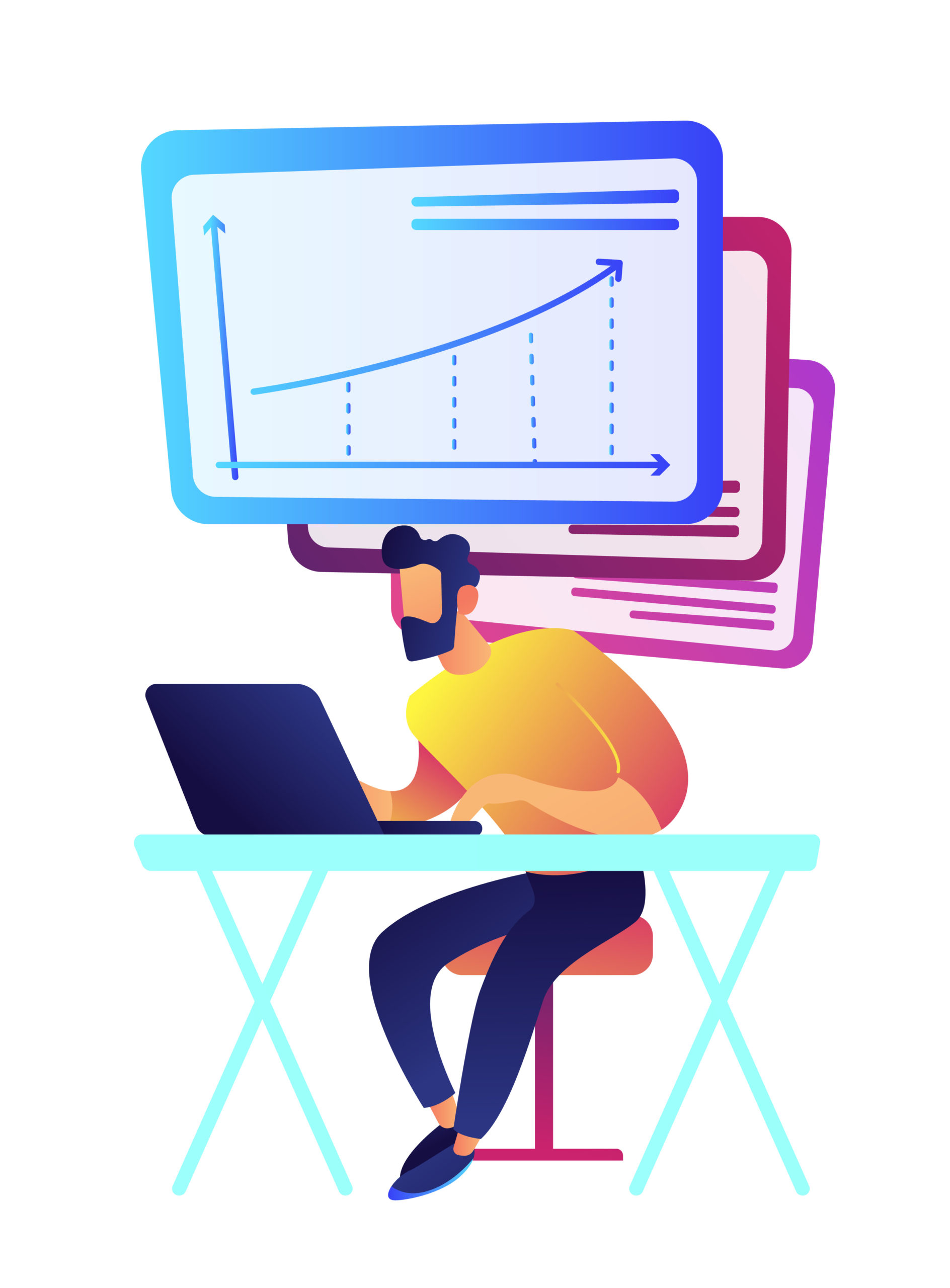 Businessman working at laptop with charts vector illustration.