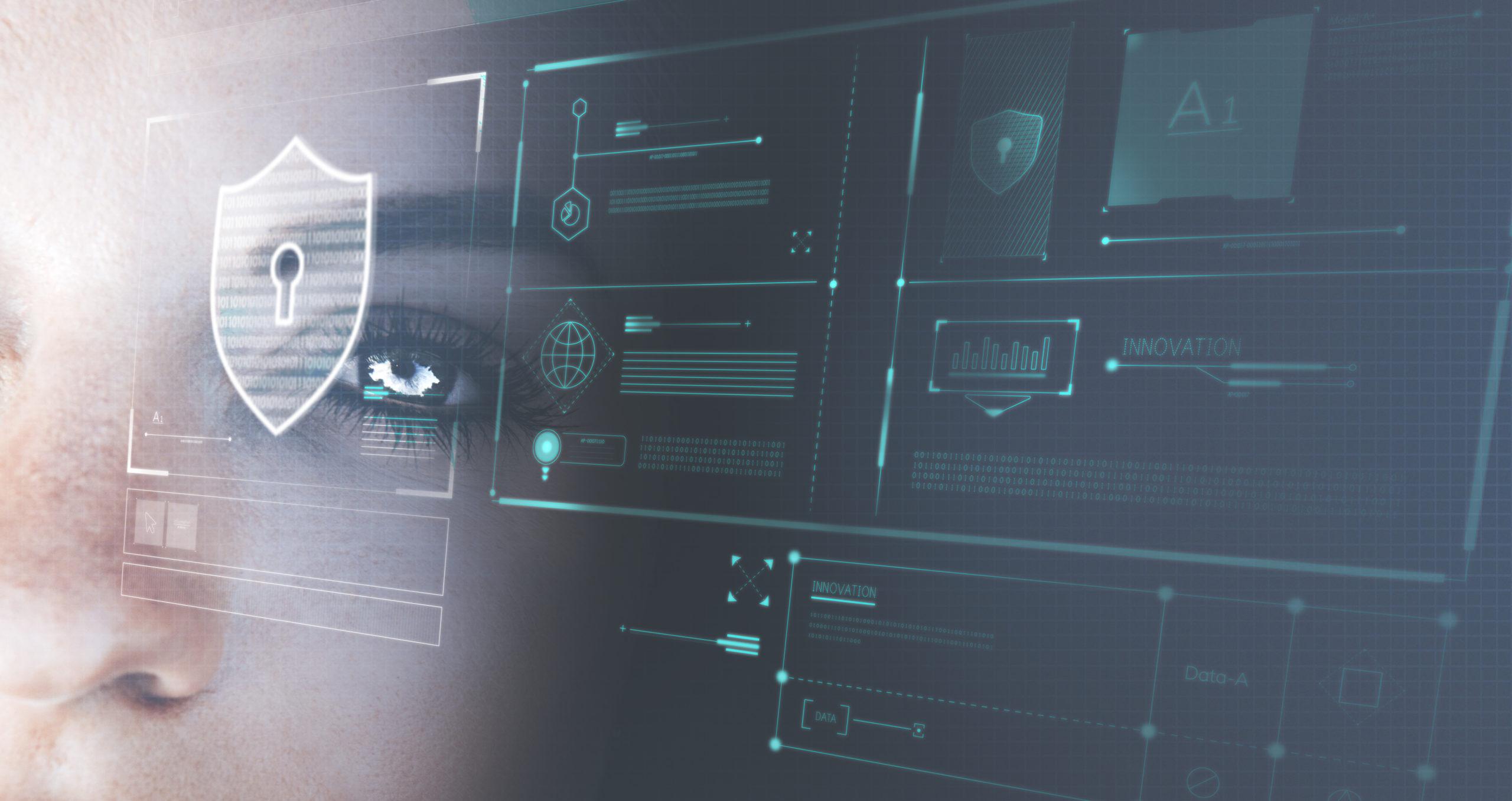 Futuristic eye close up cybersecurity