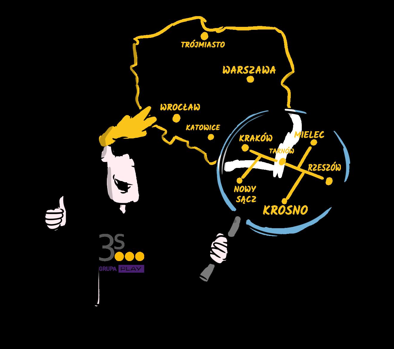 mapa zasięgu sieci Grupy 3S w Krakowie i Małopolsce